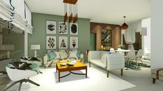 Sala de estar integrada com jantar. Projeto e maquete - Suzana Ganem