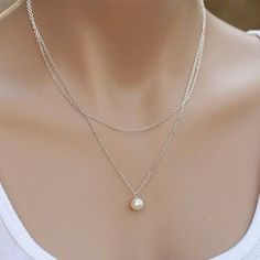 Hot Sell Fashion High Pearl Pendant Double Layer Chain Lovely Necklace For Women