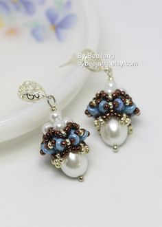 PDF Tutorial - Alina Beaded Cap Earrings Pendant Necklace