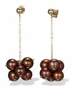 Chocolate Pearl Drop Cluster Earrings in 14k Gold