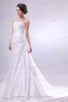 Funky Appliqued Ruched A-line Satin Wedding Dress - Sposadress.com