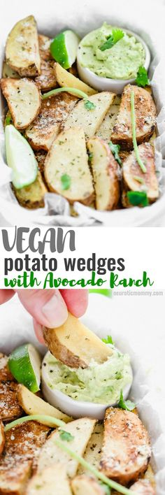Potato Wedges with Avocado Ranch - NeuroticMommy A healthy alternative to french fries, enjoy these baked and lightly salted wedges that pair perfectly with vegan avocado ranch to dip! Veggie Recipes, Whole Food Recipes, Vegetarian Recipes, Cooking Recipes, Healthy Recipes, Tofu, Healthy Snacks, Healthy Eating, Clean Eating