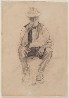 George Lambert - Old man with pipe Life Drawing, Drawing Sketches, Pencil Drawings, Art Drawings, Sketch Ink, Figure Sketching, Figure Drawing, Drawing Reference, Australian Painters