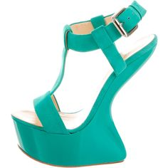 Pre-owned Giuseppe Zanotti Platform Cage Wedges ($125) ❤ liked on Polyvore featuring shoes, sandals, green, green sandals, wedge shoes, platform sandals, wedge heel sandals and wedge heel shoes