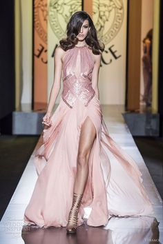 wow! once in life I'd really like to dress like that! atelier versace fall 2012 couture pale pink gown cutout slit