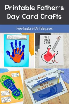 Printable Father's Day Card Crafts for Kids to make with handprints & footprints. Lots of super cute designs! Crafts For Kids To Make, Kids Diy, How To Make, Father's Day Diy, Fathers Day Crafts, Sweet Quotes, Grandparents Day, Cute Designs, Gifts For Dad