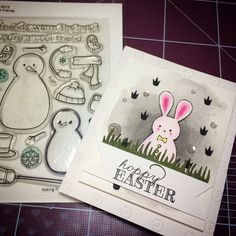 Easter card! made with lawn fawn's snow man! haha