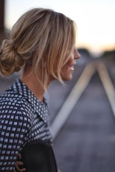 Its just a photo. But i love this! I just make a loose ponytail, then tuck it up into the elastic. Keep the loose strands.