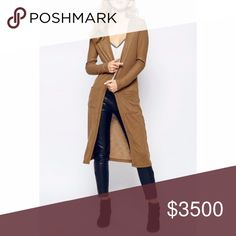 COMING SOON! Tan Long Cardigan Chic long cardigan in tan/coffee. Perfect for Fall. Please see measurements below for most accurate fit. Add to bundle to save!  Small - Bust: 35.43, Length: 41.34 inches  Medium - Bust: 37.01, Length: 41.73 inches  Large - Bust: 38.58, Length: 42.13 inches Sweaters Cardigans