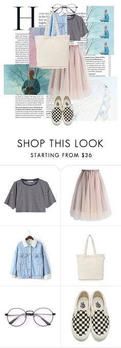 """""""skies and bubble gum pink"""" by olean ❤ liked on Polyvore featuring T By Alexander Wang, Chicwish, WithChic, BAGGU and Vans"""