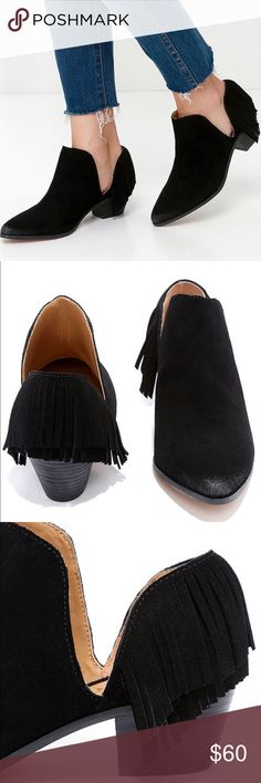 Black Suede Leather Fringe Booties by Report REPORT IGNATIOUS / Black Suede Leather FRINGE BOOTIES - Size 7.5. Beautiful, trendy must have pair! Brand new in box, never worn. Regularly $110+tax. Report Shoes Ankle Boots & Booties
