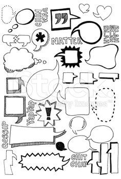 Hand drawn doodles of speech bubbles in all shapes and sizes - Doodling - Sprechblase und Kritzeleien Lizenzfreies vektor illustration - Doodle Drawings, Doodle Art, Doodle Frames, Hand Drawn Font, Banners, Visual Note Taking, Doodles, Sketch Notes, Bullet Journal Inspiration