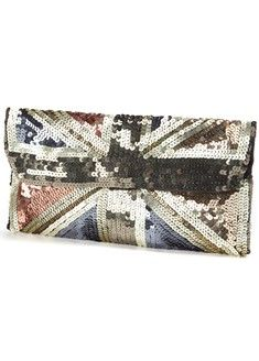 Union Jack Clutch Olive, subtle and  blingy--that's a tough combo to accomplish