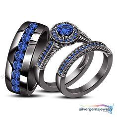 Round Blue Sapphire 10k Black Gold His Her Men's Women's Trio Wedding Ring Set #silvergemsjewelry #WeddingAnniversaryPromiseValentinesJewelrty