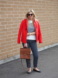 Stripes and Spots   Jacket: H&M {old but similar here}   Shirt: c/o Joe Fresh   Pants: Forever 21 {similar}   Shoes: Tory Burch   Bag: Coach   Sunnies: Gucci   Necklace: c/o Bip and Bop   Bracelets: c/o Bip and Bop, c/o Joe Fresh, c/o Luxe Craving, c/o Stella & Dot
