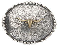 MONIQUE Women Western Floral Antique Silver Rectangular 1.5 Belt Buckle