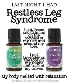 Young Living Lavender, Peace & Calming Essential Oil for Restless Leg Syndrome.