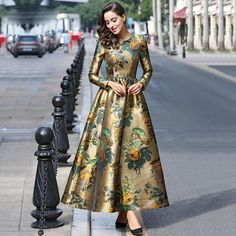 Sale HIGH QUALITY Newest 2018 Designer Maxi Dress Women's Long Sleeve Gorgeous Floral Jacquard Long Dress plus size L-4XL. Yesterday's price: US $79.99 (69.56 EUR). Today's price: US $29.60 (25.82 EUR). Discount: 63%.