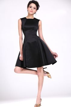 """Cute """"little black dress""""!  Love the modified square neckline and the fit and flare shape."""