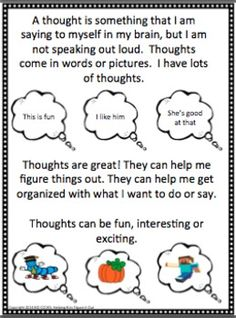 SOCIAL STORY: MY THOUGHT BUBBLE THOUGHTS - TeachersPayTeachers.com | Pinned Time: 20140919 23:06, Taipei Time