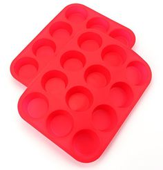 Bekith 12 Cup Large Silicone Muffin Pans  Cupcake Baking Pan  Non  Stick  Dishwasher  Microwave Safe Set of 2 * For more information, visit image link.