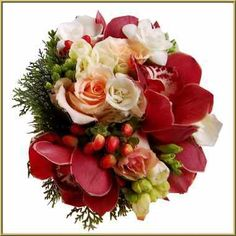 red+and+white+wedding+bouquets | Winter bouquet of scarlet and red with orange roses, white roses red ...