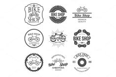 Set of bicycle shop logo badges by idimair on Creative Market