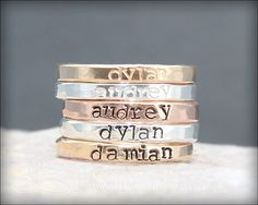 Hand Stamped Stacking NAME RING kids name by LEJewelryDesigns