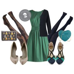 The emerald dress is really cute. I like the idea of pairing it with a navy or black cardigan.