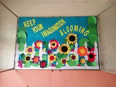 Art craft ideas and bulletin boards for elementary schools floral fence decoration spring season cr also Spring Bulletin Boards, Library Bulletin Boards, Preschool Bulletin Boards, April Bulletin Board Ideas, Garden Bulletin Boards, School Door Decorations, Library Decorations, Christmas Decorations, School Doors