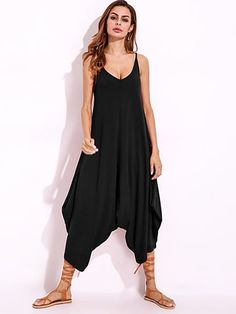 094004f088 Amazing Women Solid Strap V-Neck Wide Leg Jumpsuit Loose Drop Crotch Romper  on Newchic