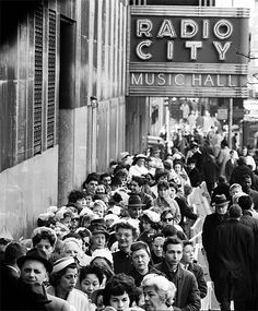 U.S. Radio City Line & Fifth Avenue Crowds, NYC, 1961 // Photographed by Yale Joel