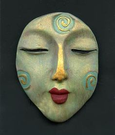 Polymer Clay Green Abstract Buddha Face Cab BFC 10 by linsart