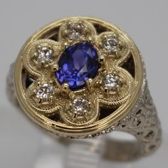 14k white and yellow gold with diamonds and sapphire - Breathtaking -One of a Kind -  Magee Jewelry, Eureka Springs AR