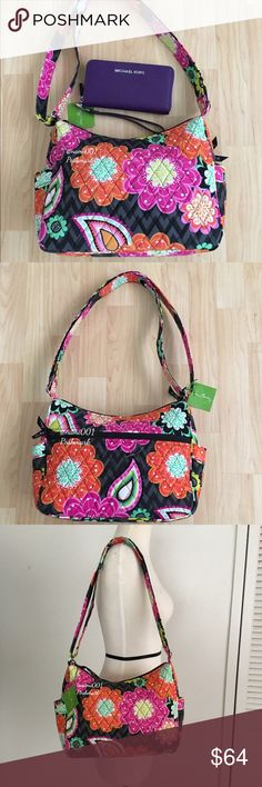"Vera Bradley Hobo Crossbody Ziggy Zinnia Purse NWT This adorable hobo that converts to a crossbody is perfect for the fashion forward girl who loves her handbags. Nostalgic throwback pattern with big pretty flowers. Wear as a hobo or expand the strap and wear as a crossbody. Measures: 11 x 8 x 5 with a 13"" - 26"" strap. Top zip closure with 3 slip pockets and a zippered pocket on the inside. 1 zippered pocket on the outside with 2 slip pockets on the sides. Comes to you brand new with tags…"