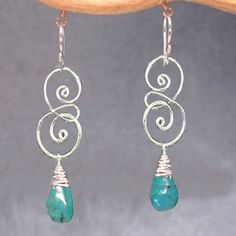Artisan-Drop-Earrings-Hammered-14K-Sterling-Swirl-Drops-Turquoise-Amethyst-Agate