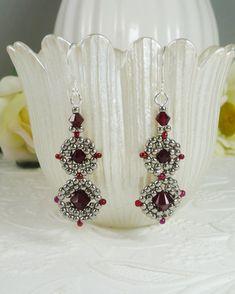 Woven Earrings in Swarovski Dark Red Crystal and by IndulgedGirl