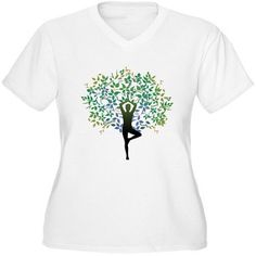 CafePress Women's Plus-Size Yoga Tree Pose Graphic T-shirt