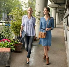 For the office, try a simple, flattering dress and matching brown accessories…