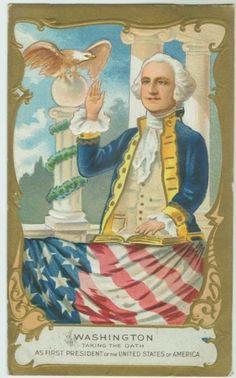 Washinton Birthday postcard depicting George taking the oath of office, circa 1910.