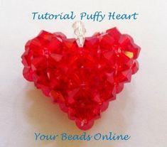 Jewelry Beading Tutorial Swarovski Puffy Heart by YourBeadsOnline Jewelry Patterns, Beading Patterns, Swarovski, Beads Online, Beaded Crafts, Heart Patterns, Beading Tutorials, Metal Beads, Beaded Jewelry