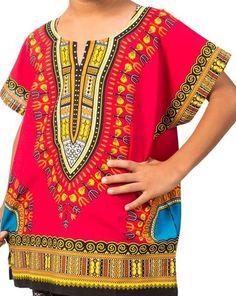 African Boys Dashiki Shirt Kids Mexican Poncho Top Hippie Girls Blouse Red Small #Handmade #Hawaiian #Everyday