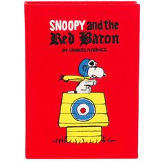 Olympia Le-Tan Snoopy And The Red Baron Book Clutch found on Polyvore featuring bags, handbags, clutches, multi color purse, colorful clutches, red clutches, denim purse and red handbags