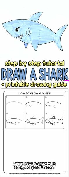 How to Draw a Shark Step by Step Tutorial (Halloween Manualidades Paso A Paso) Easy Drawings For Kids, Drawing For Kids, Art For Kids, How To Draw Kids, Learning To Draw For Kids, Learn To Draw, Drawing Lessons, Drawing Tips, Shark Drawing Easy
