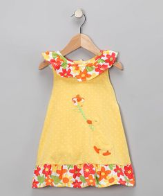Take a look at this Yellow Duck Dress - Infant, Toddler & Girls by Le Top on #zulily today!