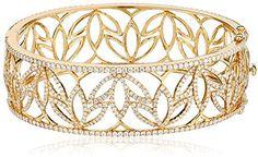 "Katie Decker ""Lotus"" 18k Yellow Gold and Diamond Cuff Bracelet on shopstyle.com"