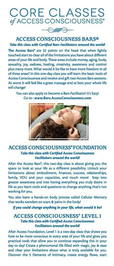 Access Consciousness® and Access the Bars® information brochure What if this could create the ease you've been looking for? Book in for a session today....
