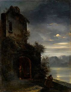 Désiré Donny (1798-1861), Monk in the moonlight, 1840