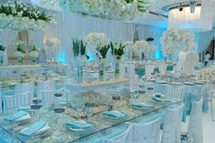 How amazing is this glamorous icy blue and white reception by the talented Kevin Lee, owner of LA Premier! It's like a fairytale dream made into reality!