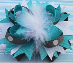 Stacked Bow 5 Boutique Bow Aqua Blue Gray White by YummyBaubles